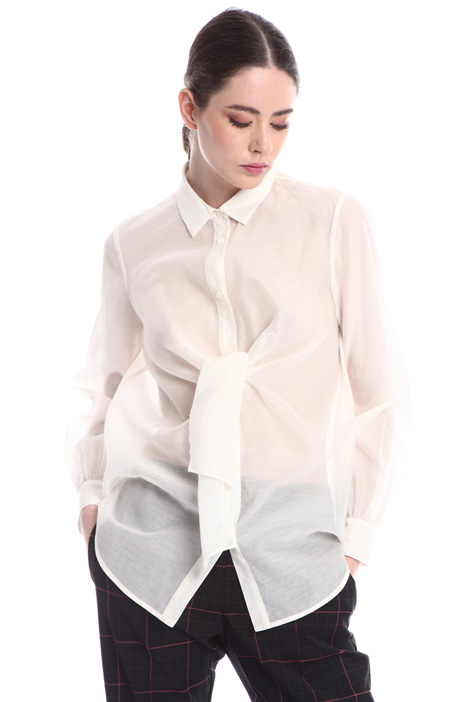Organza shirt with bow   Intrend