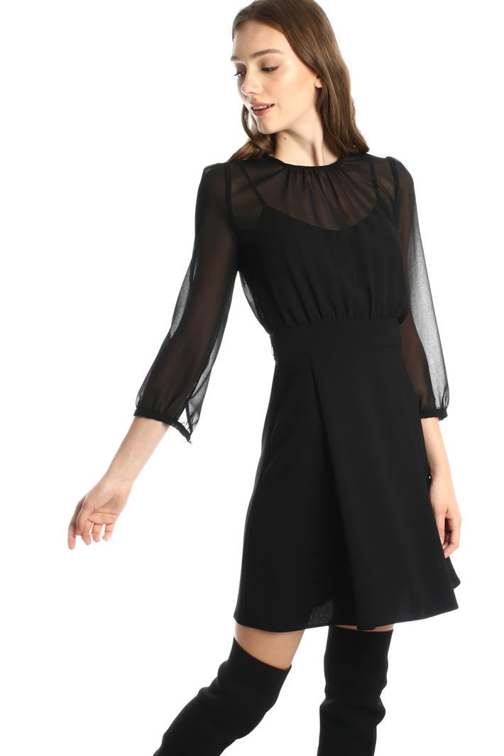 Georgette and sablé dress Intrend