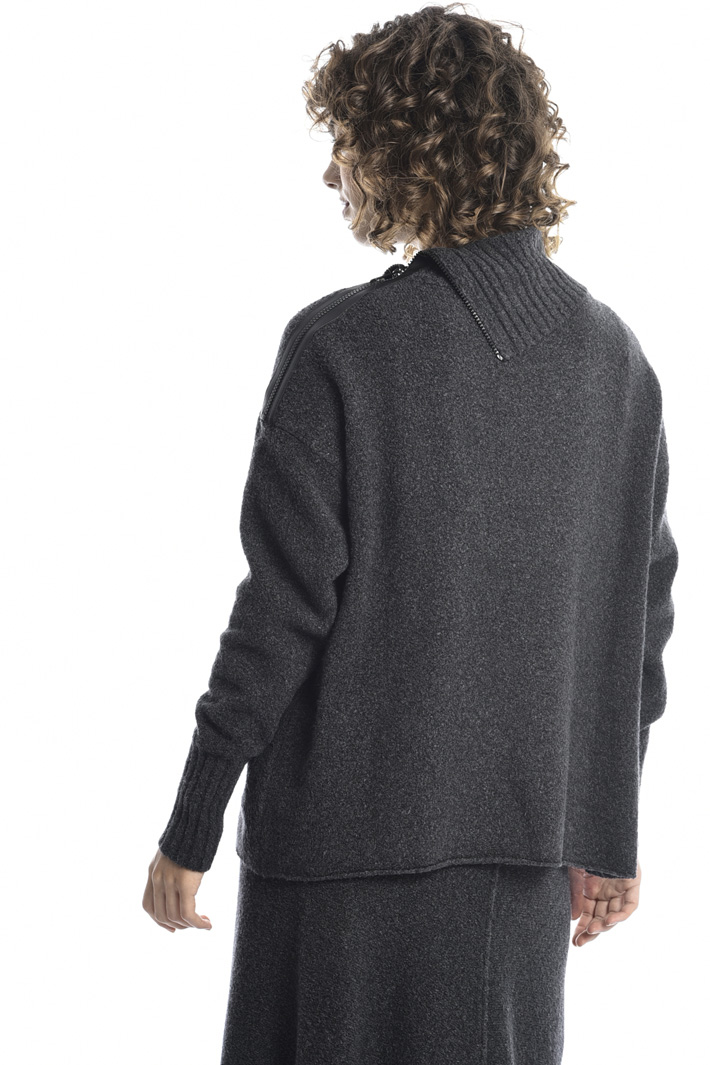 Bouclé sweater with zip detail Intrend