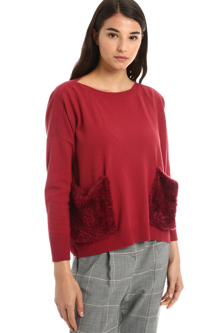 Wool jumper with plush pockets Intrend
