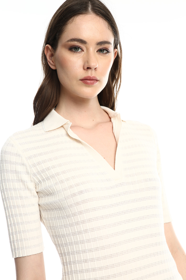 Ribbed polo shirt  Intrend