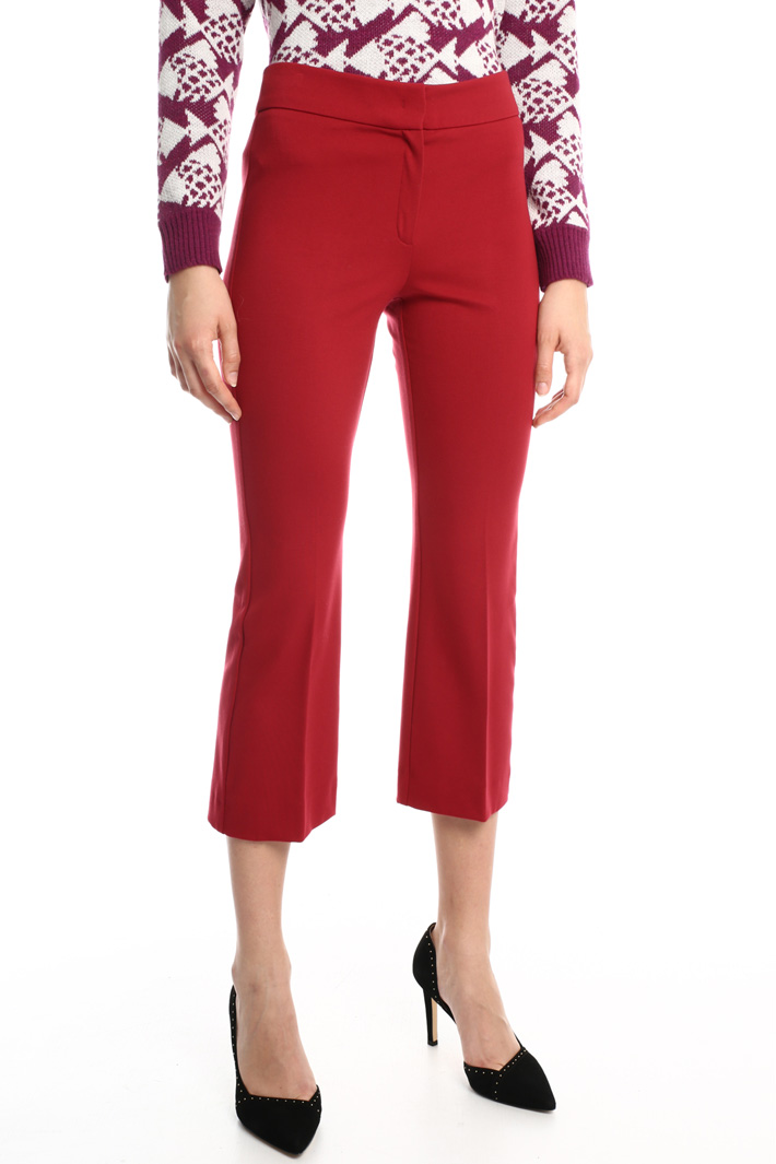 Crop viscose jersey trousers Intrend