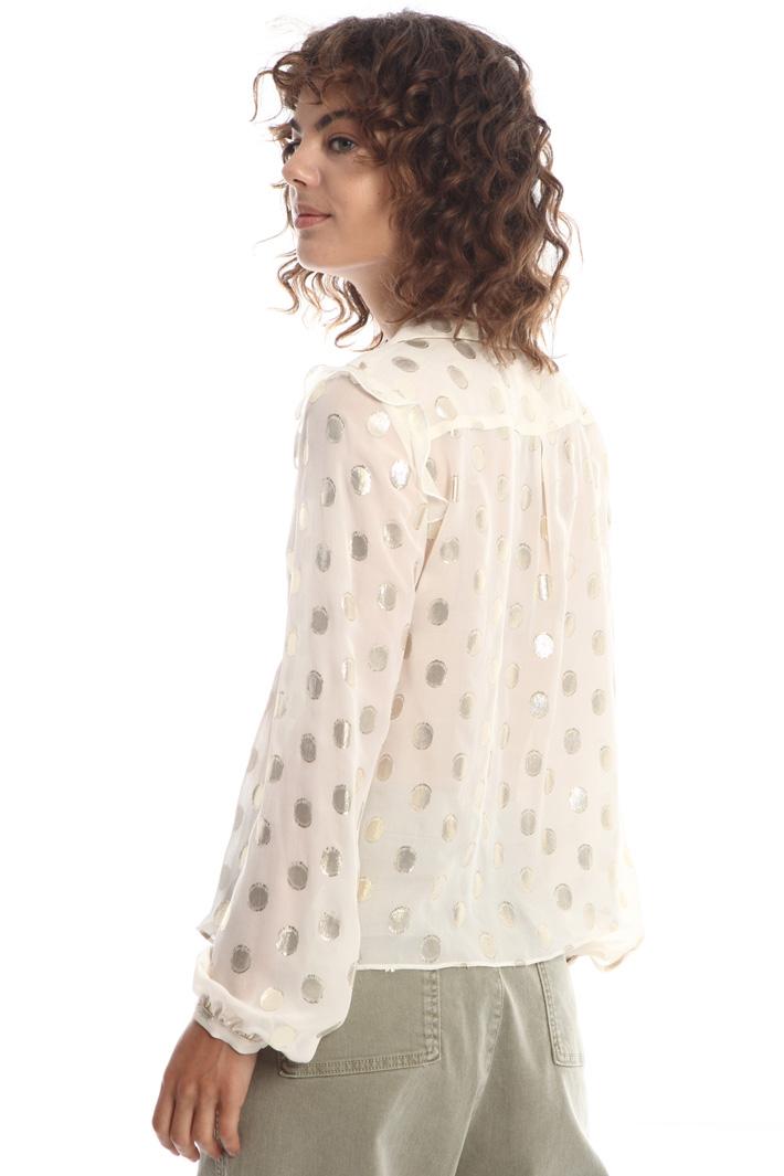 Lamé polka dot shirt   Intrend