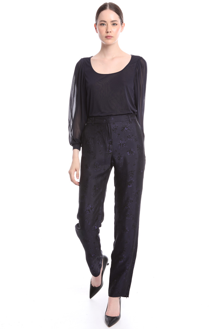 Slim-fit jacquard trousers  Intrend