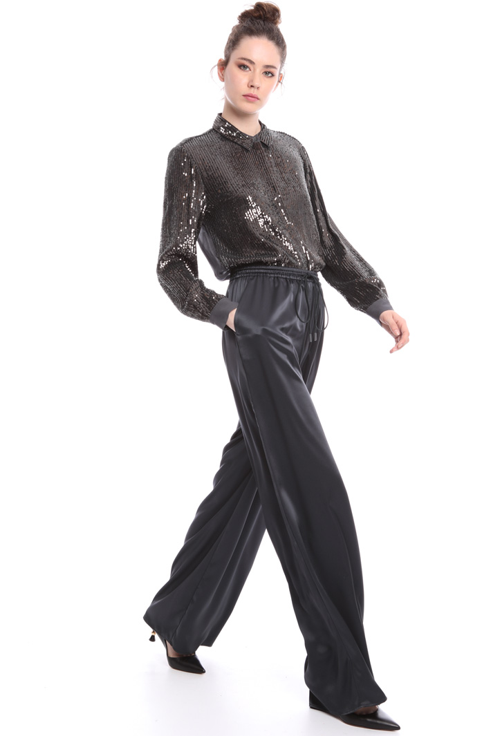 Satin trousers with drawstring Intrend