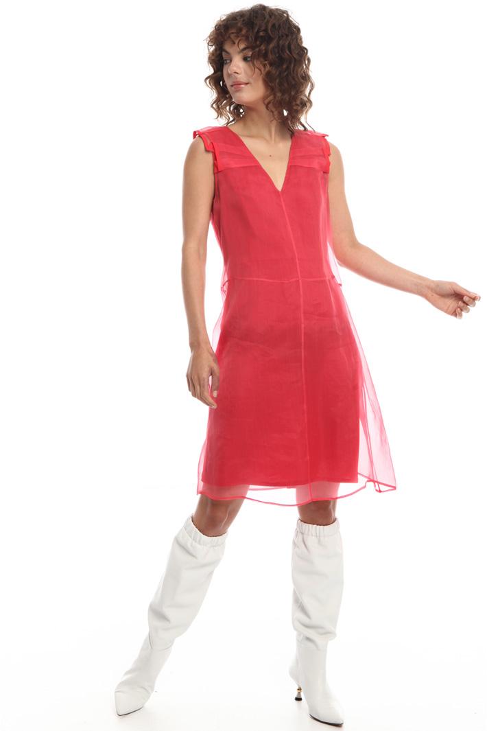 Silk organza V-neck dress  Intrend