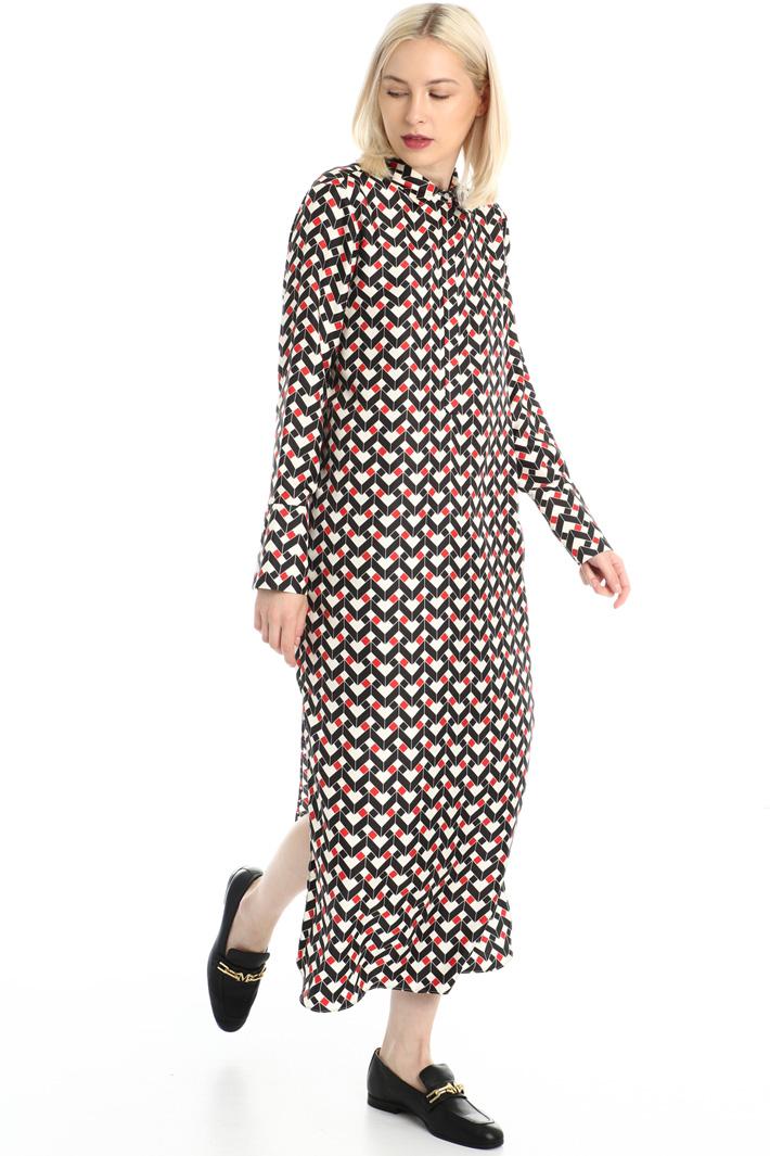 Long silk twill dress Intrend
