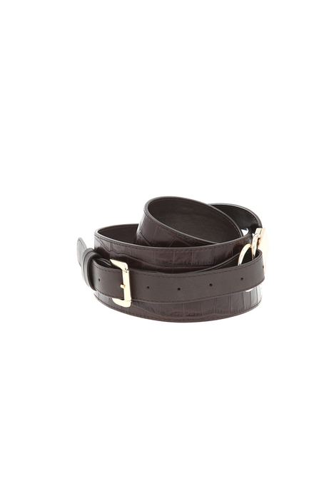 Croc print leather belt Intrend