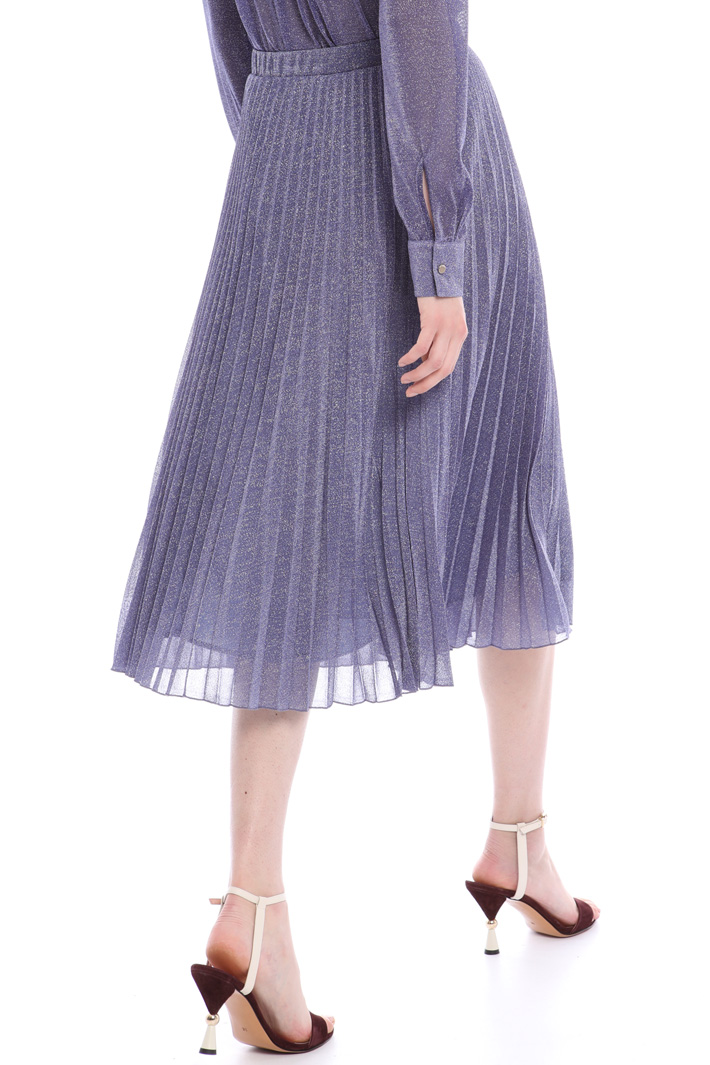Lamé jersey pleated midi skirt Intrend