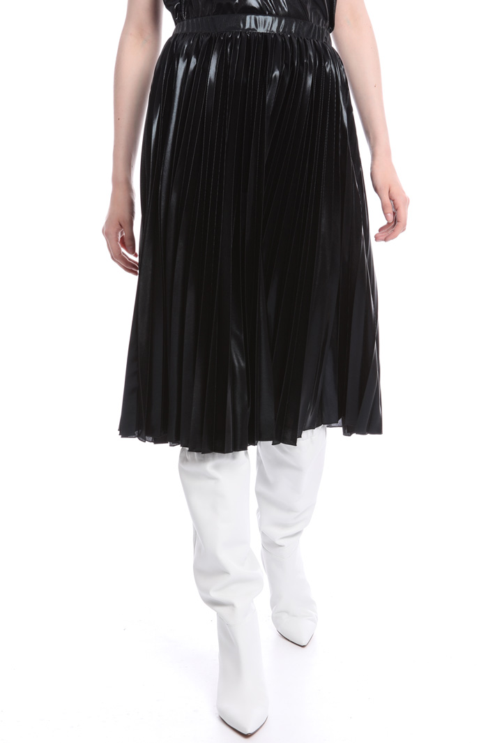 Metallic pleated midi-skirt  Intrend