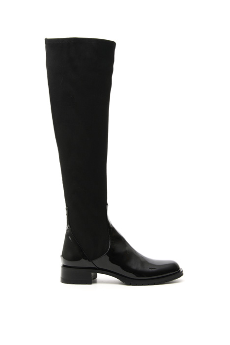 Patent leather and knit boots Intrend