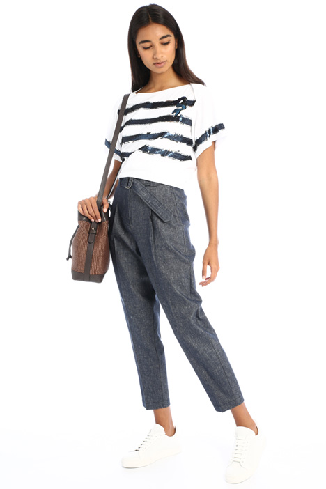 Denim-effect carrot trousers Intrend