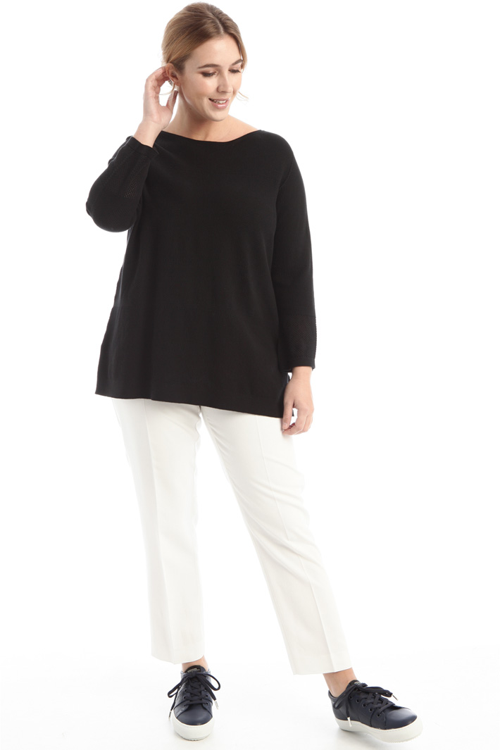 Cotton sweater with bow detail Intrend