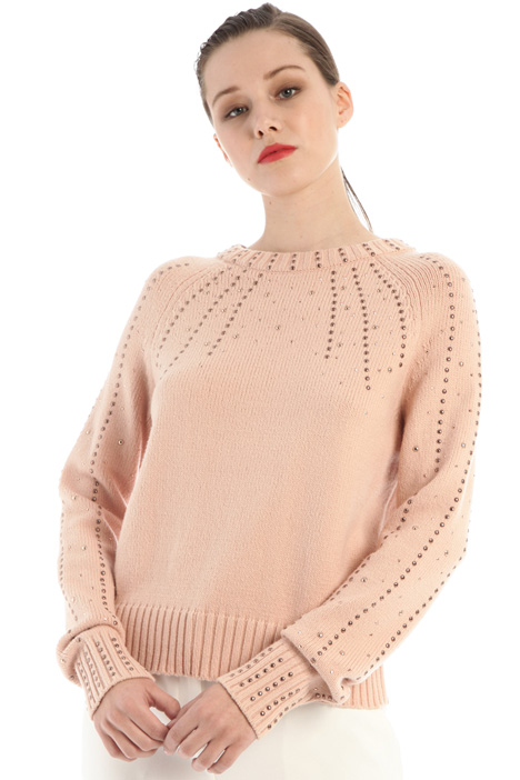 Cotton sweater with studs Intrend