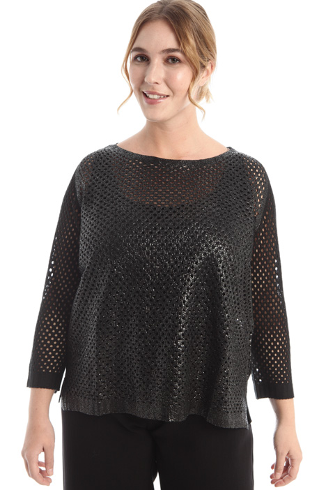 Laminated mesh sweater Intrend