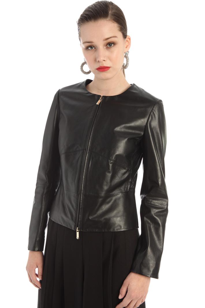 Slim fit leather biker jacket Intrend