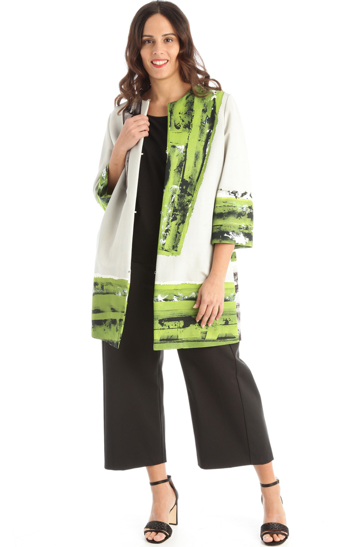 Printed faille duster coat Intrend