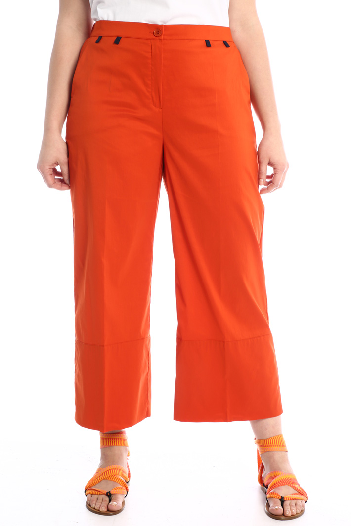 Cropped poplin trousers Intrend