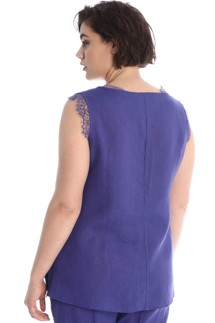 Lace detailed linen top Intrend