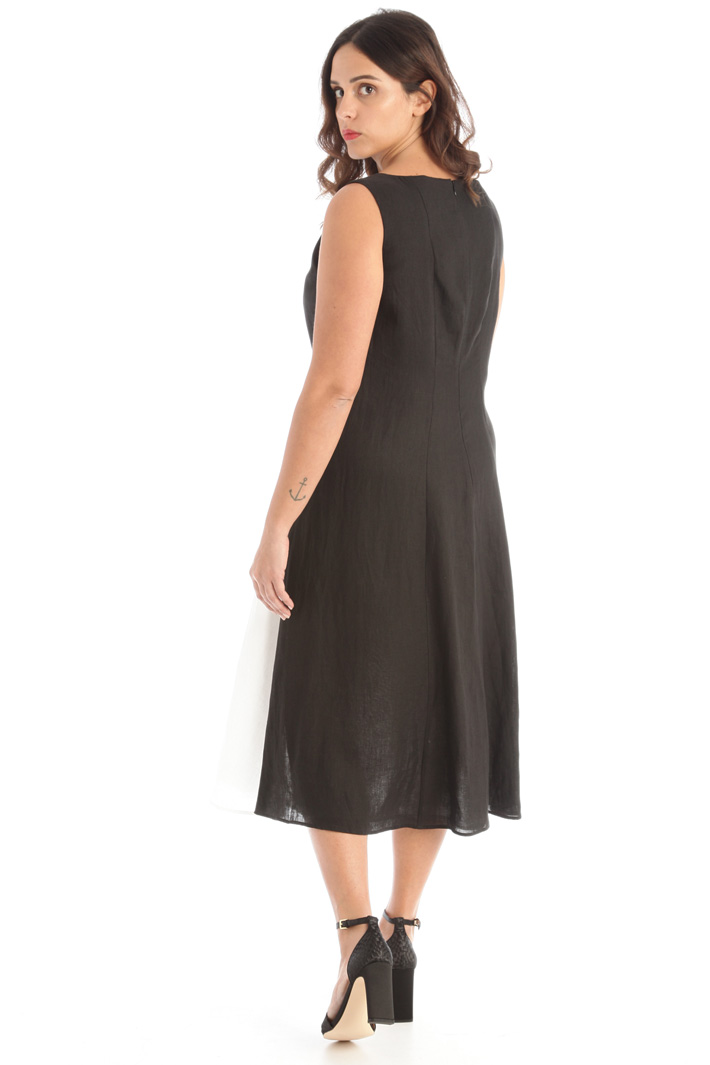Pure linen color block dress Intrend