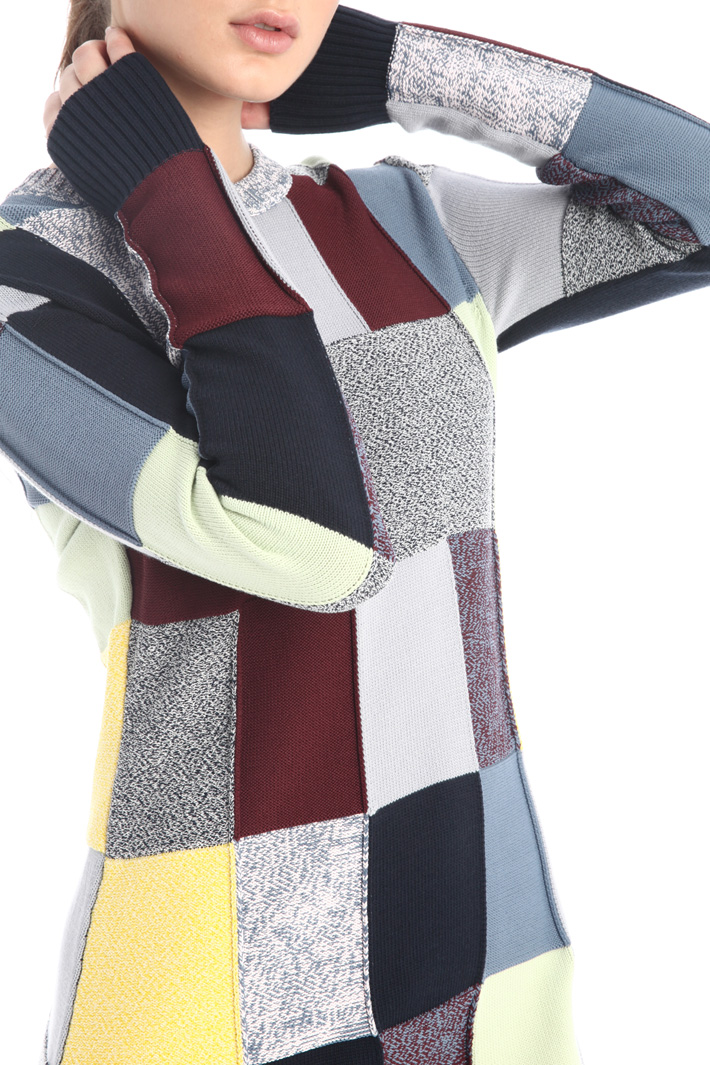 Patchwork knit dress Intrend