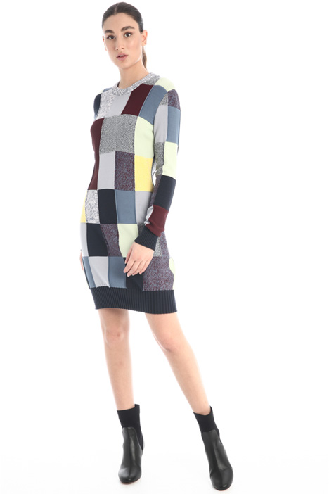 Patchwork knit dress Intrend