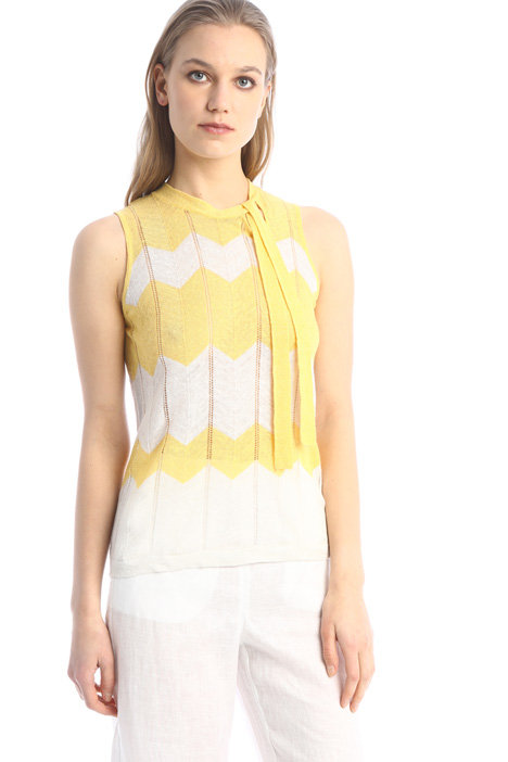 Knitted top with sash Intrend