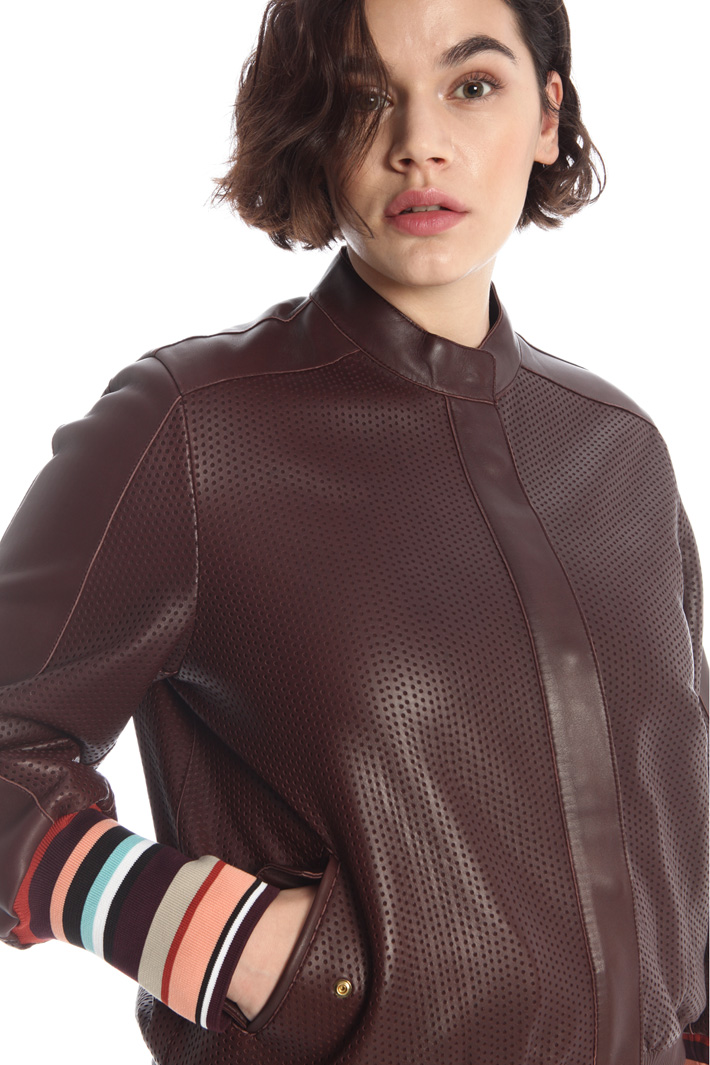 Perforated nappa jacket Intrend