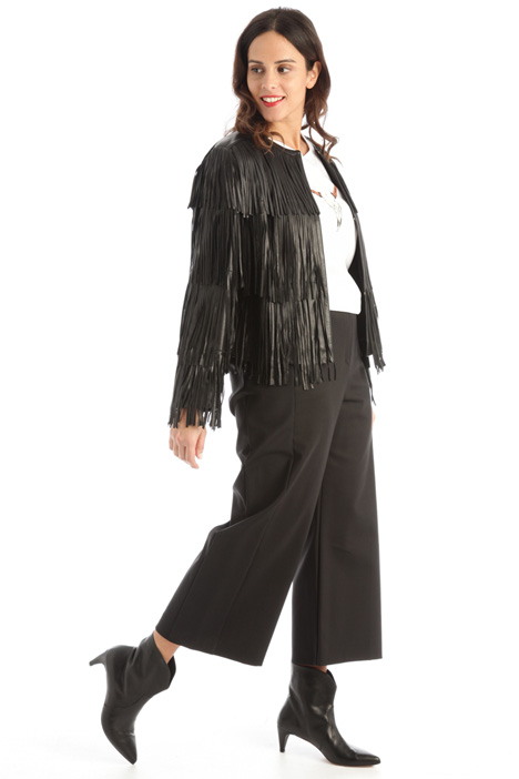 Fringed leather jacket Intrend
