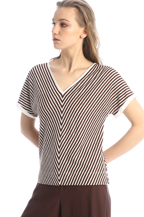 T-shirt in lino con laccetti Intrend