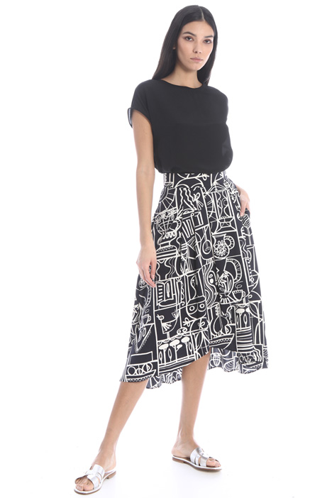 Printed poplin skirt Intrend