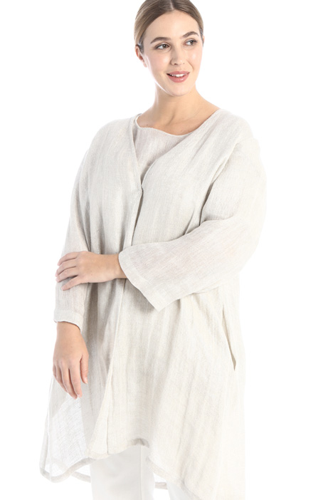 Laminated linen duster coat Intrend