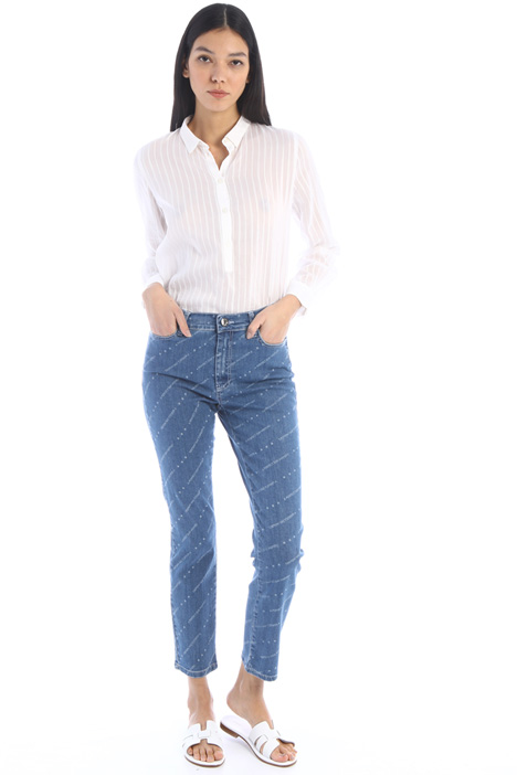 Jeans a sigaretta con stampa Intrend