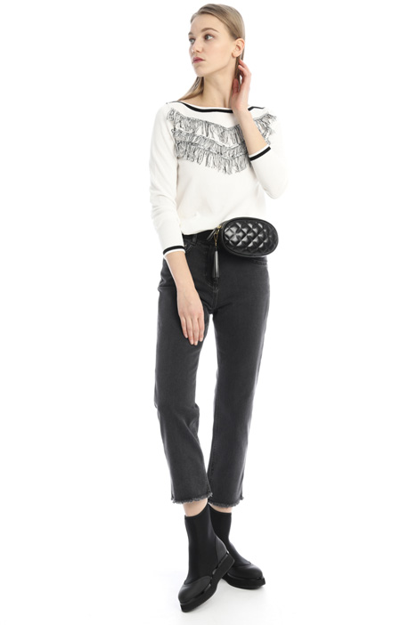 Fringed cotton sweater Intrend