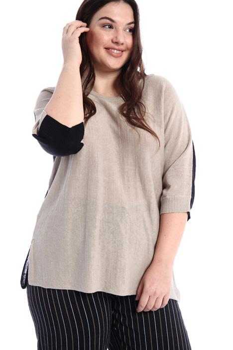 Colour-block linen sweater Intrend