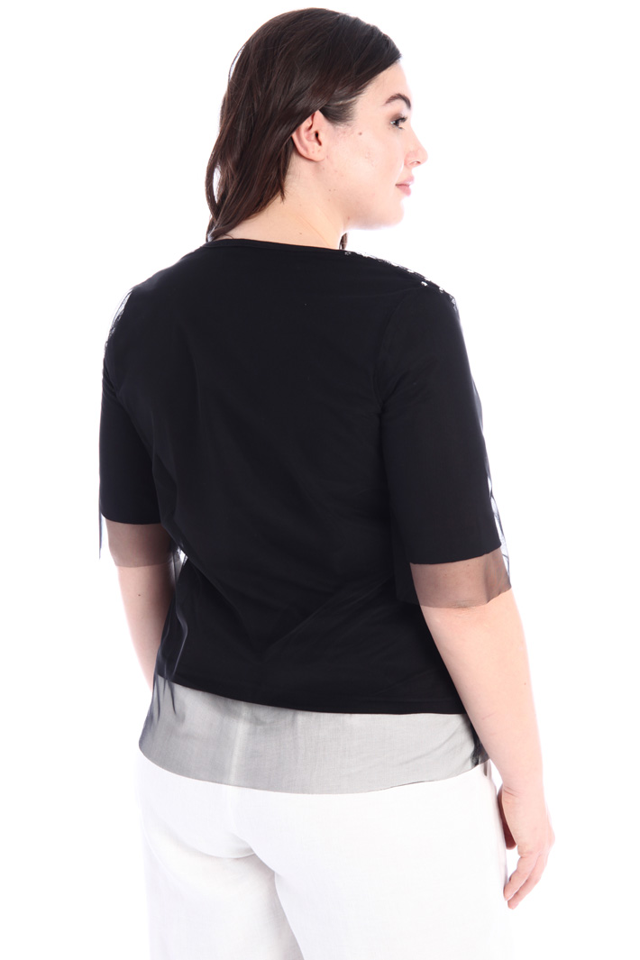 Tulle and jersey T-shirt Intrend