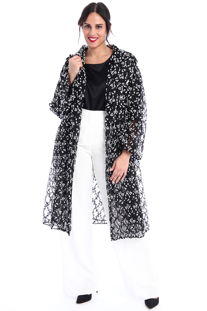 Embroidered tulle duster coat Intrend