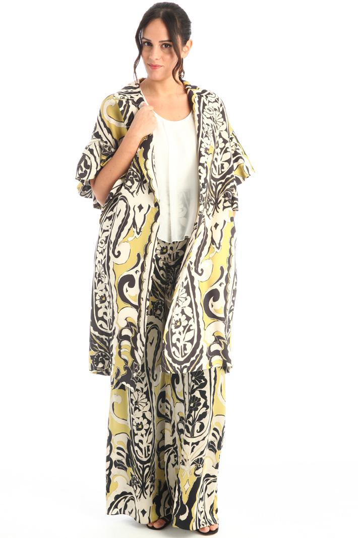 Printed silk duster coat Intrend