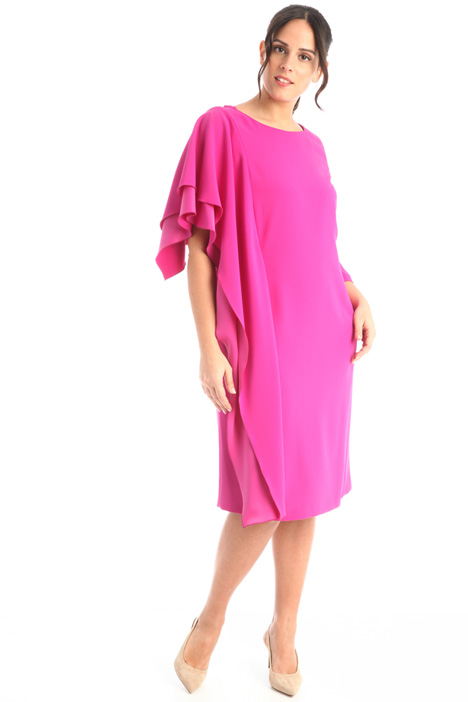 Flounced sleeve crepe dress Intrend