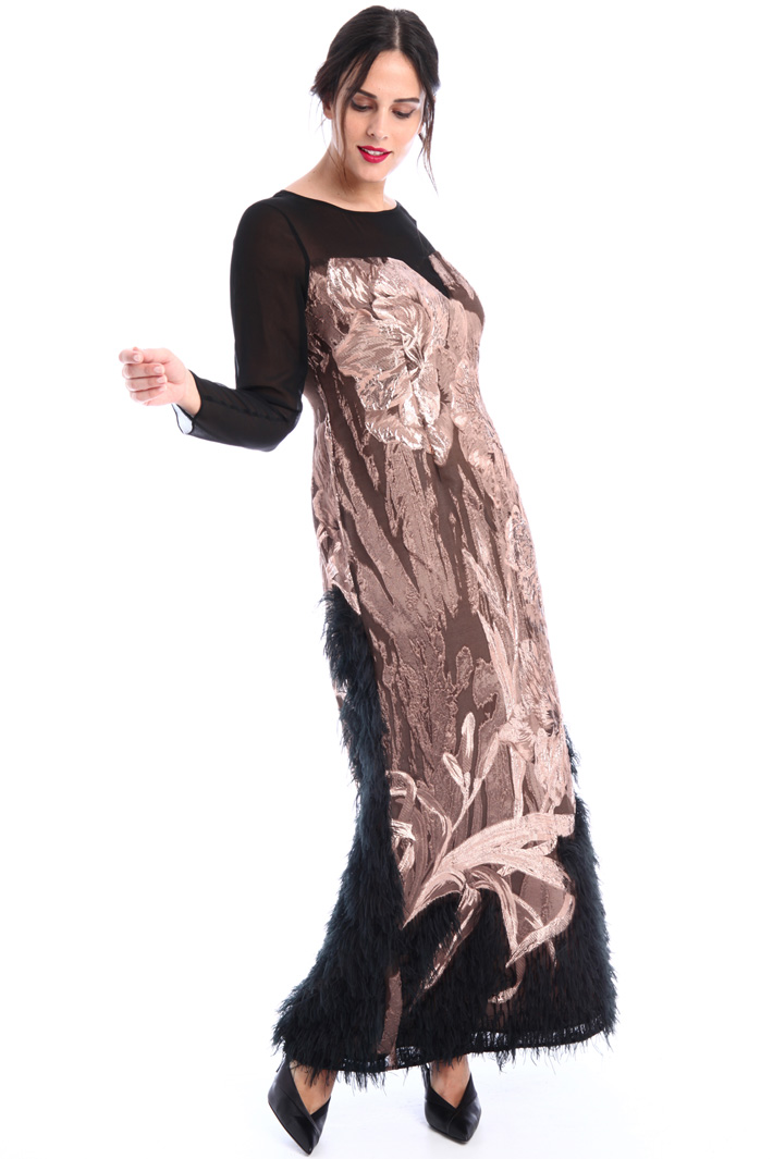 Jacquard dress with feathers Intrend