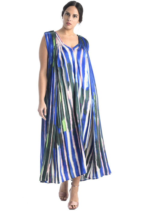 Printed pleated satin dress Intrend