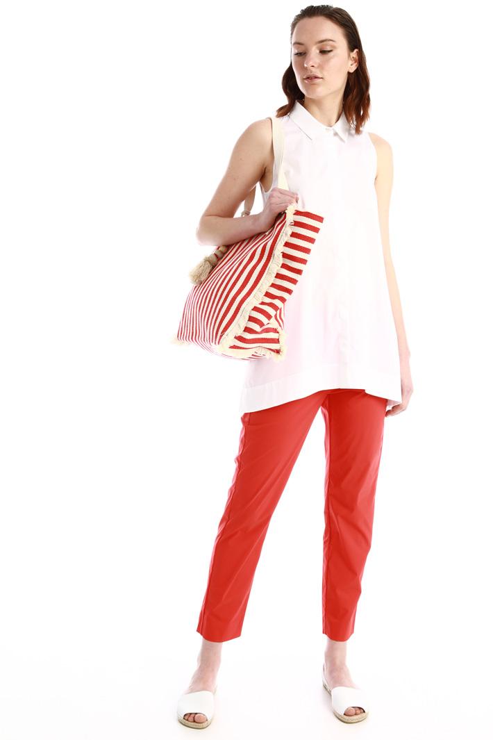Shopper in cotone con nappa Intrend