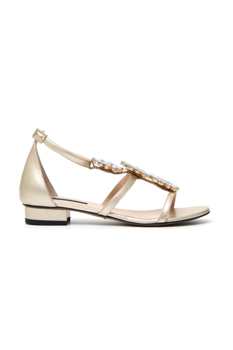 Metallic leather sandals Intrend