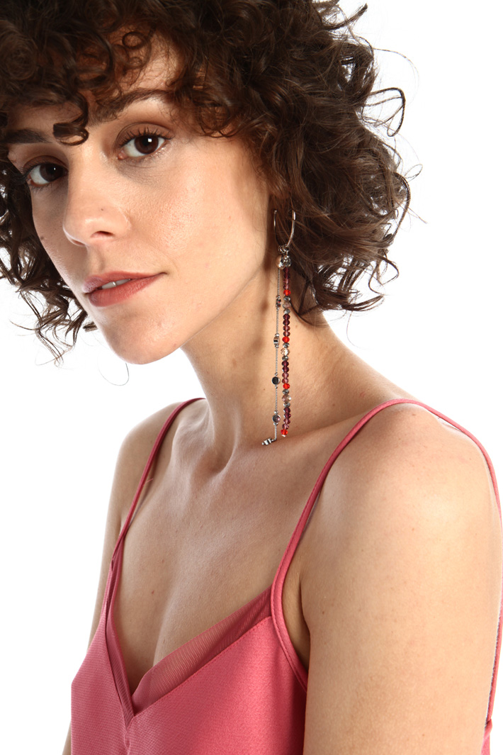 Earrings with bead chains  Intrend