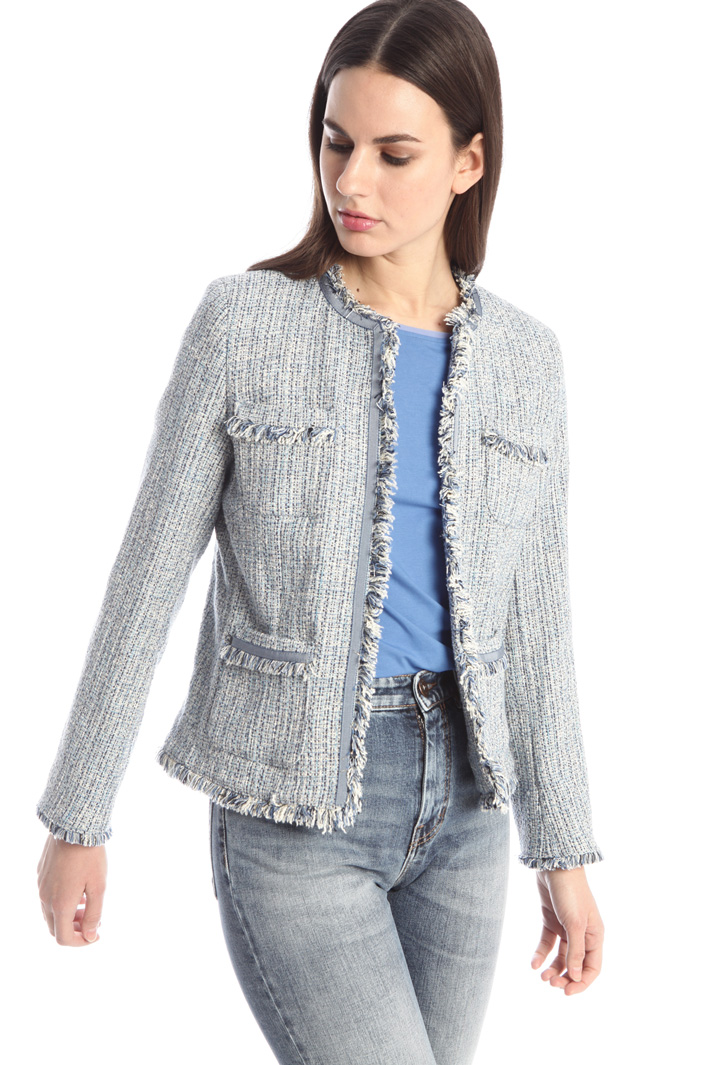 Fringed tweed jacket Intrend