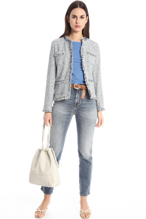 Fringed tweed jacket Intrend