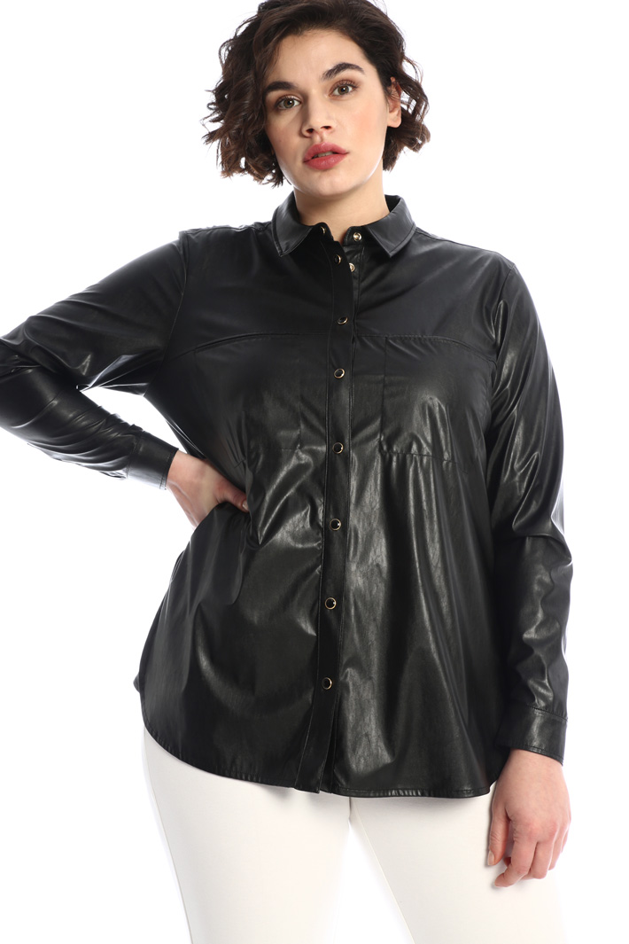 Coated-effect shirt Intrend