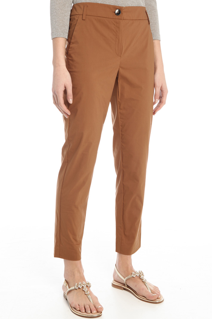 Straight poplin trousers Intrend