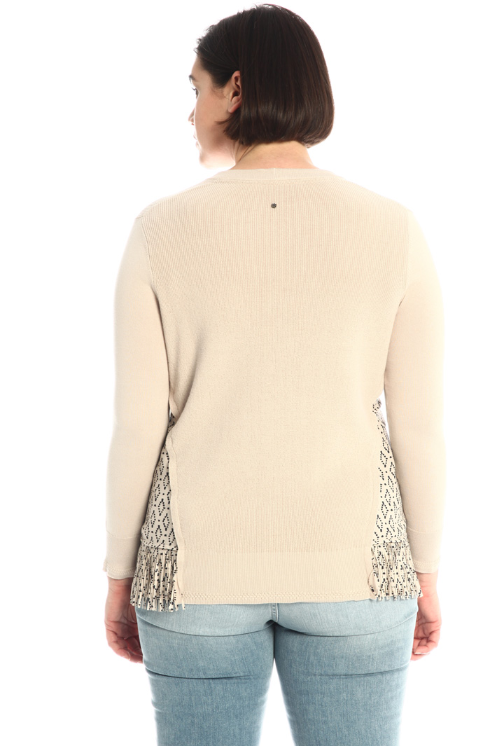 Sweater with fringed inserts Intrend