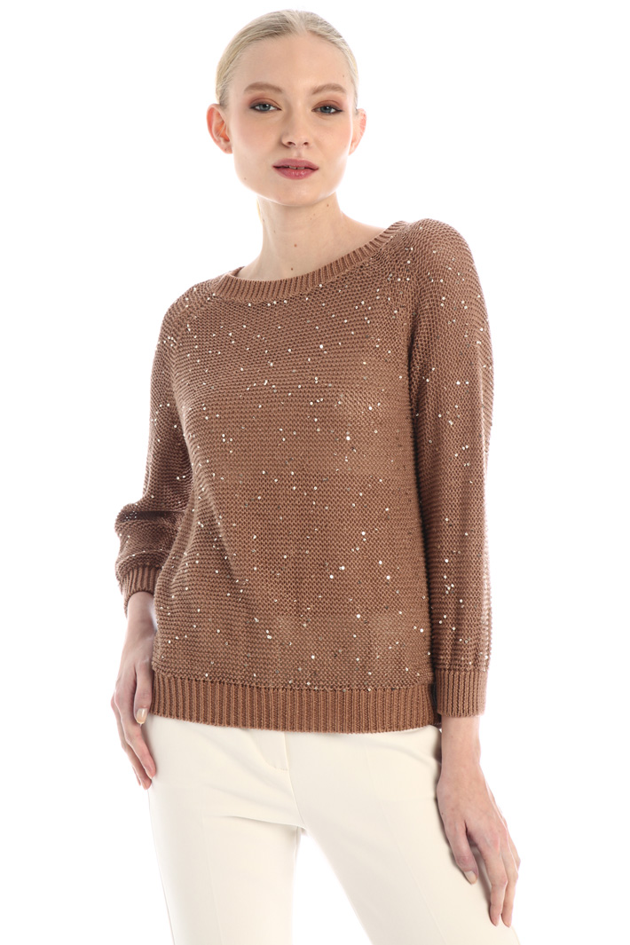 Sequinned linen sweater Intrend